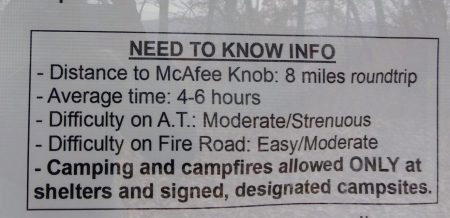 McAfee Knob Trail sign