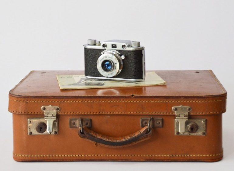 suitcase with camera on top