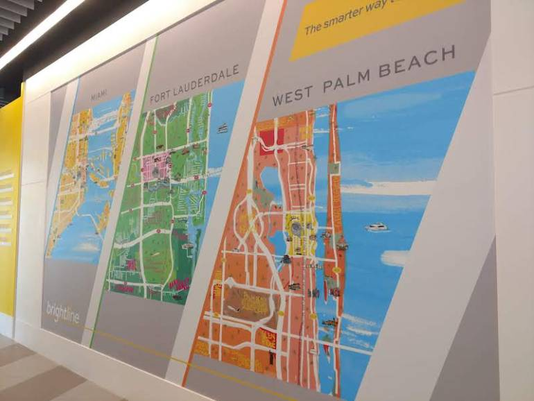 illustrated maps in the Brightline station