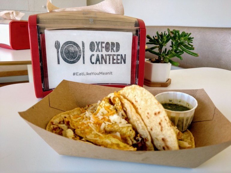 breakfast tacos at Oxford Canteen