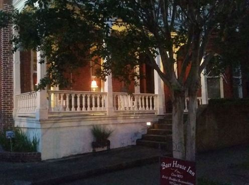 Baer House front porch at night