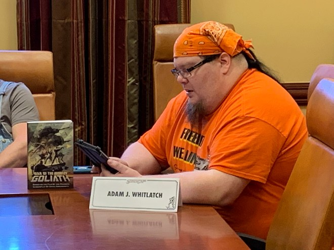 """Adam J. Whitlatch reads an excerpt from his novel """"War of the Worlds: Goliath,"""" at SoonerCon 28."""