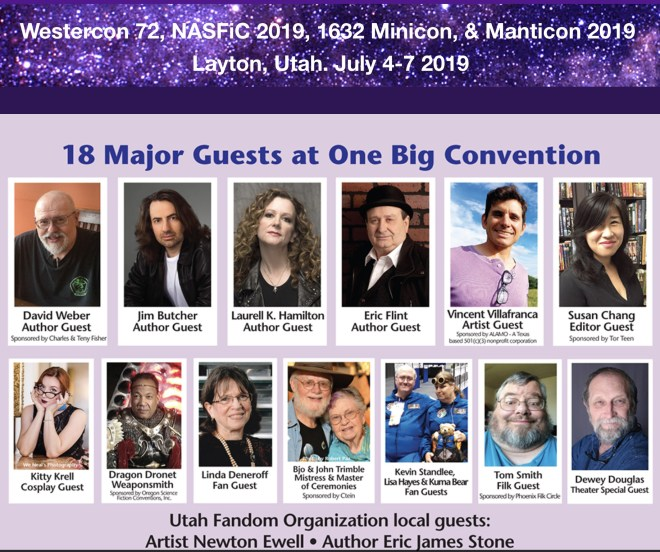 This is a screen capture of the opening images from the SpikeCon website's homepage. It includes the list of four different conventions that came together in Layton Utah July 4-7, 2019, and shows photos 15 headliner guests, including authors, artists, editors, fans, and others. Many of them did both panels and readings.