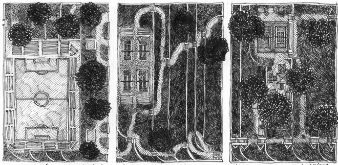 This picture consists of three, 2D park space drawings. The one on the left includes a soccer field, the middle one includes four tennis courts, and the one on the right includes a playground and two tennis courts.