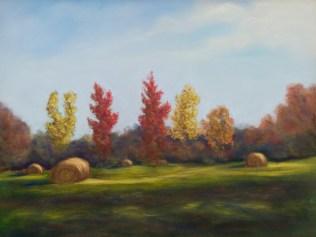 Haystacks in Fall
