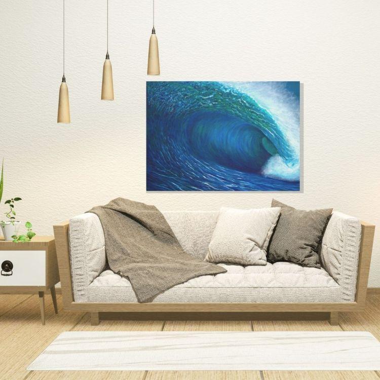 blue canvas art by Jan Tetsutani