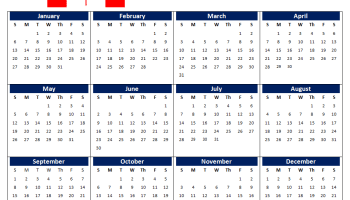 January 2019 Calendar Canada With Bank Public Federal Holidays