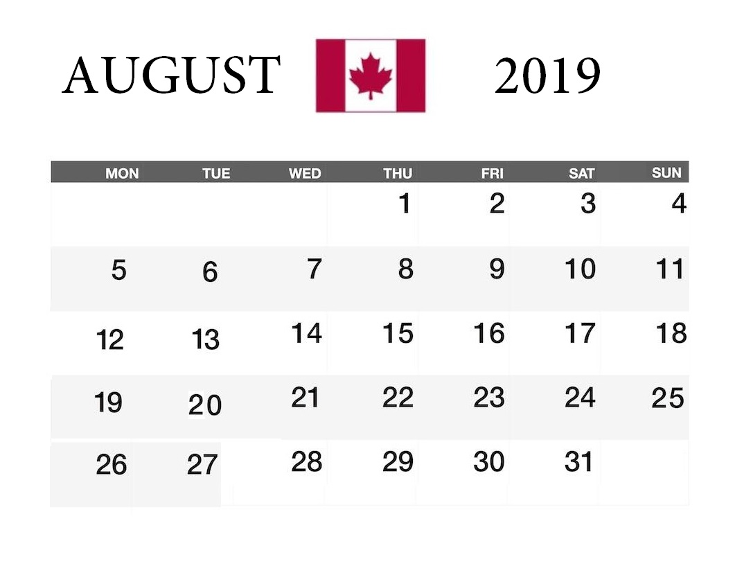 August 2019 Calendar With Holidays For USA, UK, Canada