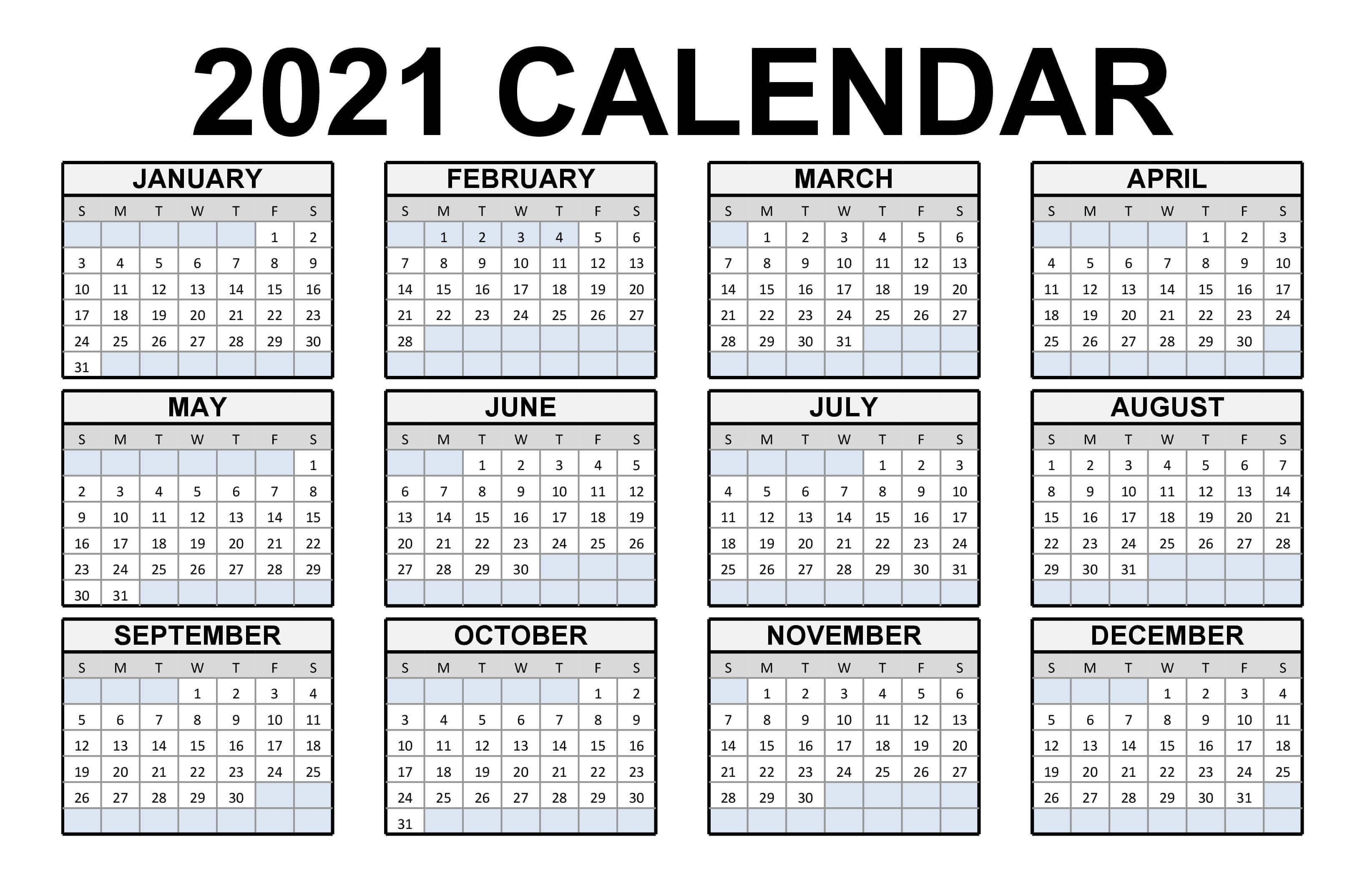 Google calendar doesn't show any holidays by default. Free Printable Calendar 2021 in PDF Word Excel Template