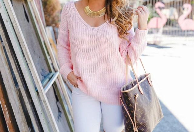 pink chunky sweater long sleeve