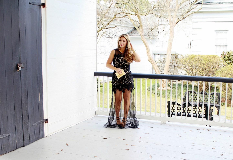 Black Formal Lace Dress Long