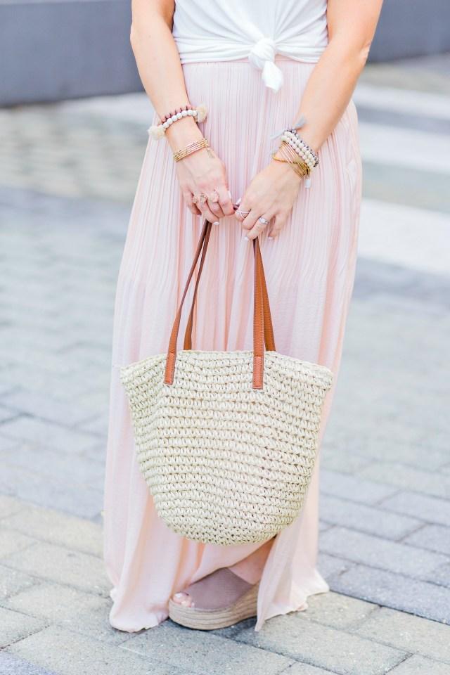 light pink maxi skirt
