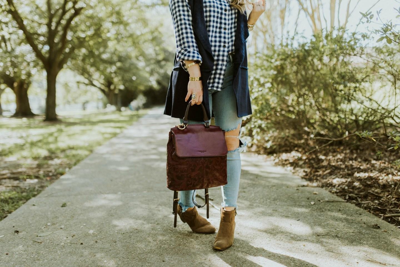 burgundy leather backpack