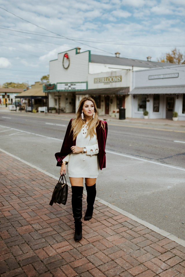 How to style a sweater dress for the holidays