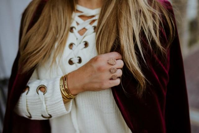 Ivory Lace up Sweater Dress