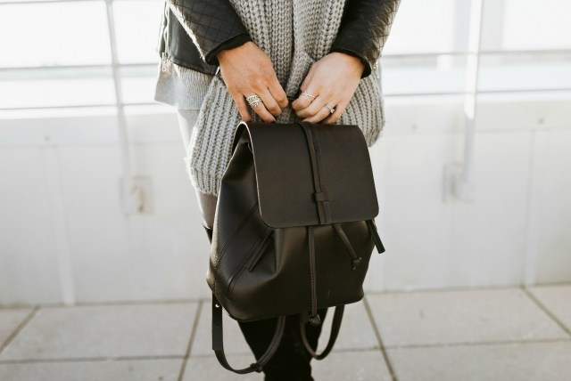 black leather backpack womens