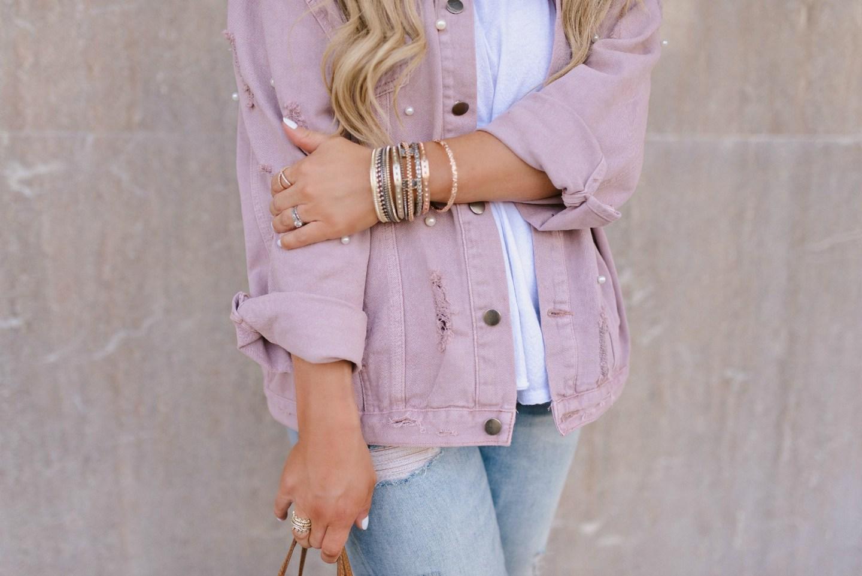 pink denim jacket outfit