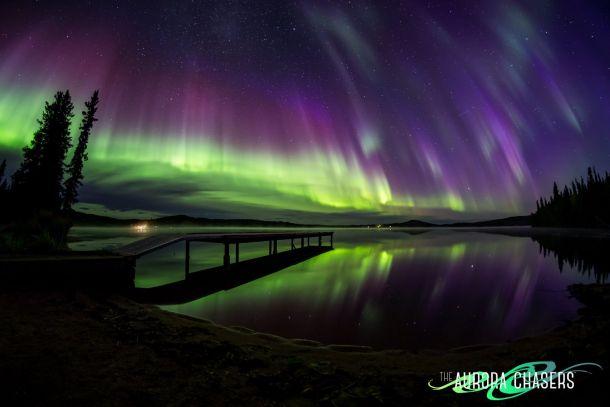 Schitterend noorderlicht in de nacht van 31 augustus op 1 september boven Fairbanks, Alaska (bron: Marketa Murray).
