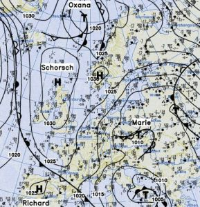 Berliner Wetterkarte, 12 december 2012, 02:00 uur (bron: BWK-DWD)