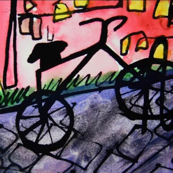 JAO Art Print detail bike locked downtown