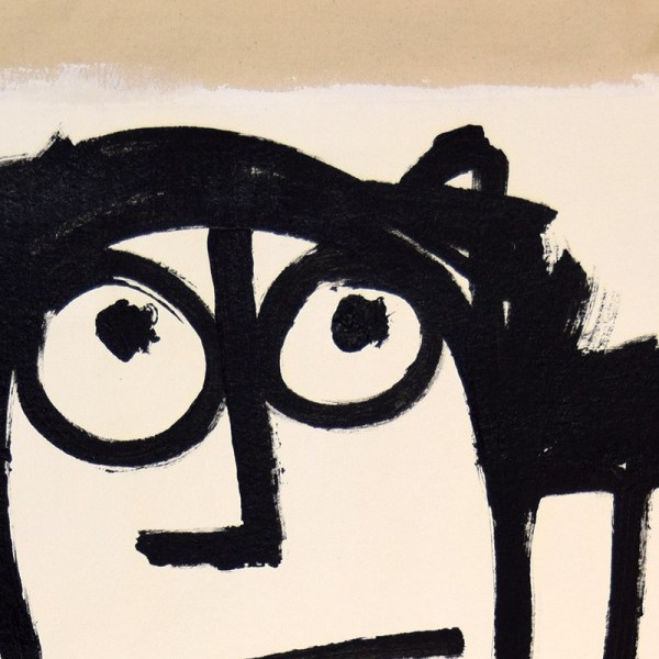 black and white figure with hands holding head, eyes looking up, primitive art style, detail of eyes