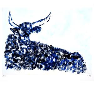 primitive art style painting of blue bull by Julie JAO