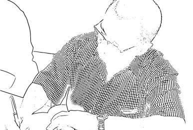 Dibujo de J. A. Ortega firmando un ejemplar de uno de sus libros