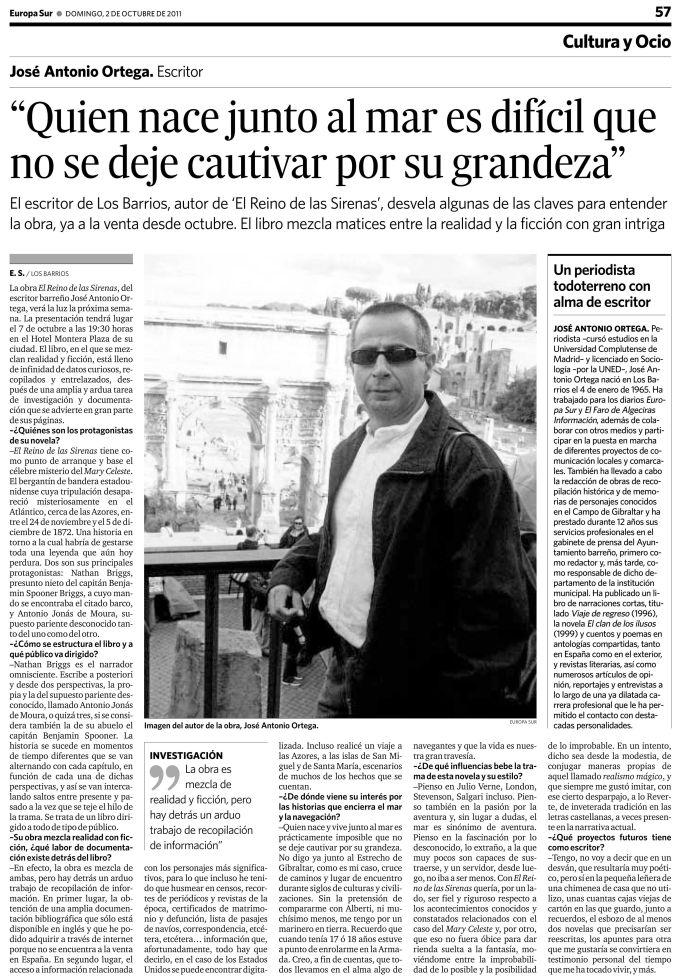 Recorte de prensa con entrevista de J. A. Ortega publicada por Europa Sur