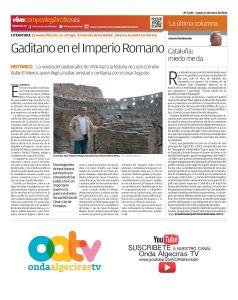 Contraportada del diario Viva Campo de Gibraltar dedicada a la próxima publicación de El Secreto de los Balbo