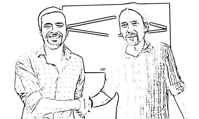 Dibujo de Pablo Iglesias y Alberto Garzón