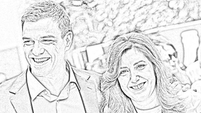 Dibujo de Pedro Sánchez y Susana Díaz