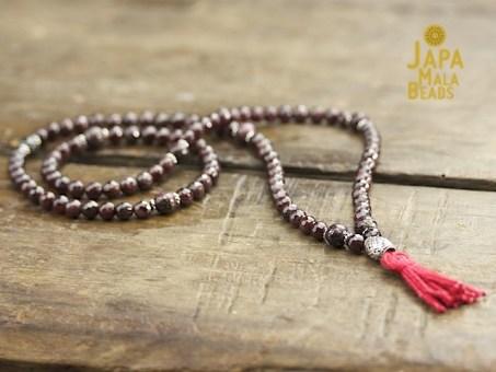 Garnet, Pyrite and Silver Necklace Prayer Mala