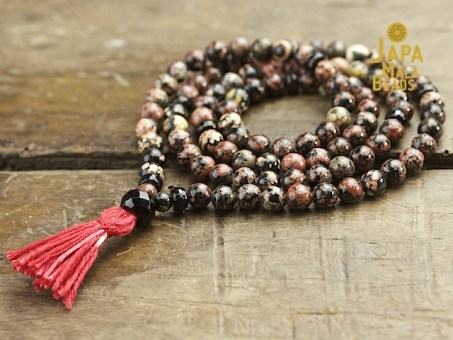 Red Snowflake Jasper Necklace Mala Beads