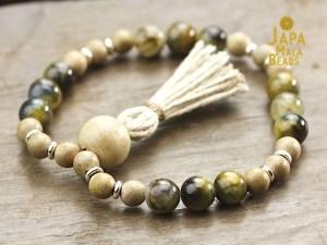 Golden Pietersite and Silkwood Mala