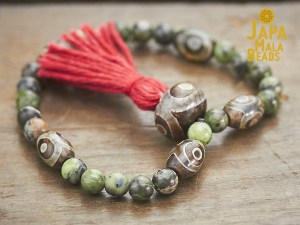 Jade and Dzi Agate Mala Beads
