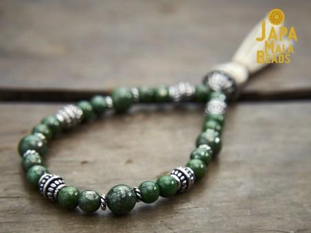 Green Pyrite and Silver Mala
