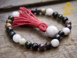 Tourmaline and White Agate Wrist Mala
