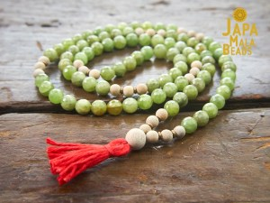 Green Garnet and Silkwood Necklace Mala