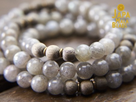 Labradorite and Silver Greywood Full Mala