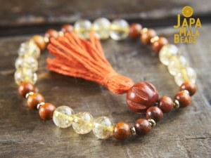 Citrine and Sibucao Wood Bracelet Mala