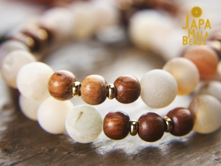 Frosted Druzy Agate and Bayong Bracelet Mala