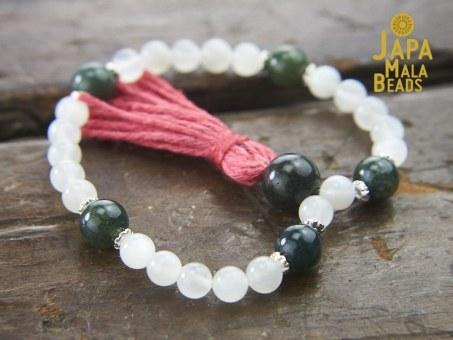Moonstone and Moss Agate Bracelet Mala