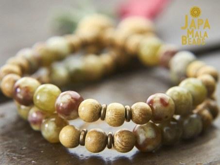 Red Serpentine and Jackfruit Wood Mala Beads