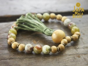 Red Serpentine and Jackfruit Wood Bracelet Mala