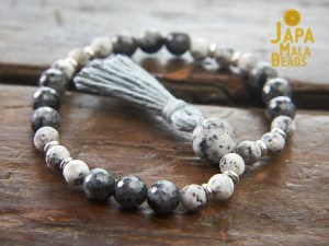Sesame Jasper and Blue Labradorite Bracelet Mala