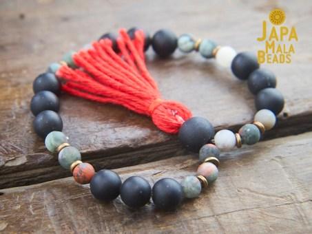 Black Obsidian and African Bloodstone wrist mala