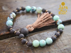 Terra Agate and Agarwood Bracelet Mala
