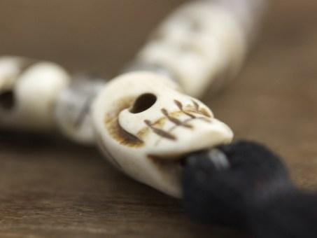 Tourmalated Quartz and Bone Mala