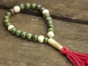 Copper Ore Jasper and Bone Mala