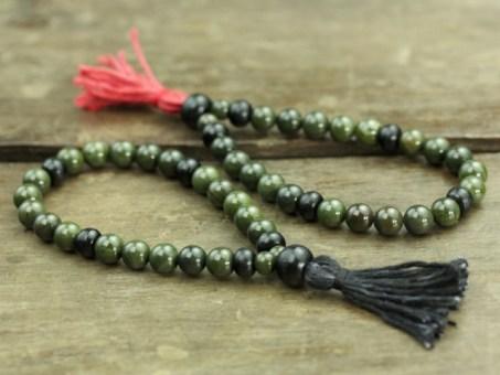 African Green Jasper & Horn Mala